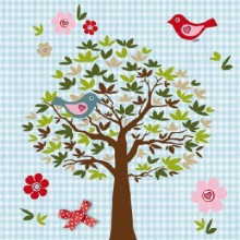 SERVILLETAS BIRDS TREE BLUE